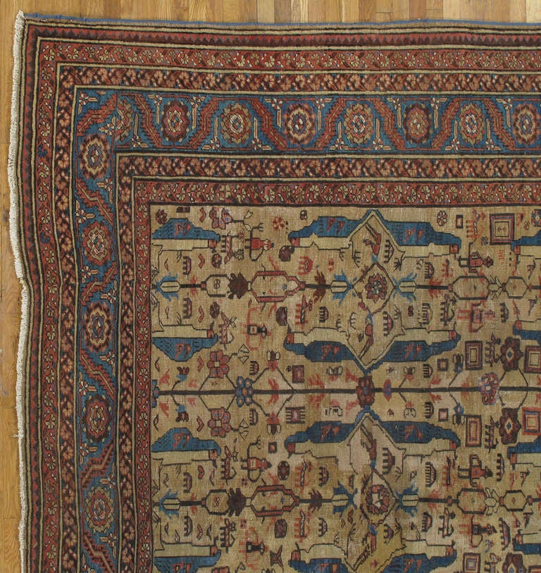 Hand-Knotted Antique Persian Serapi Carpet, Handmade Wool Oriental Rug, Gold-Ivory Light Blue For Sale