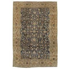 Antique Persian Tabriz Carpet, Handmade Oriental Rug, Navy, Beige, Gold Allover