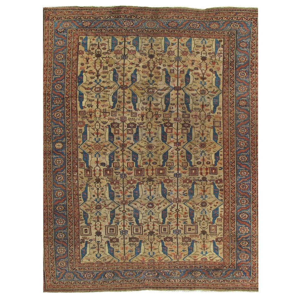Antique Persian Serapi Carpet, Handmade Wool Oriental Rug, Gold-Ivory Light Blue