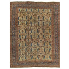 Antique Persian Serapi Carpet, Handmade Wool Oriental Rug, Gold-Ivory Light Blue