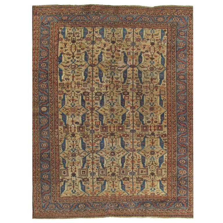 Antique Persian Serapi Carpet, Handmade Wool Oriental Rug, Gold-Ivory Light Blue For Sale