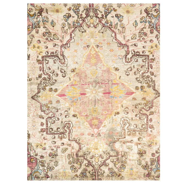 Ivory Wool And Silk Persian Naein Area Rug For Sale At 1stdibs: Antique Persian Silk Kashan Rug, Handmade Oriental Rug