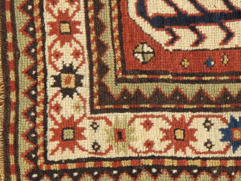 Hand-Knotted Antique Russian Kazak Carpet For Sale