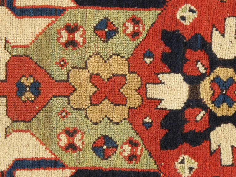 Antique Russian Kazak Carpet In Excellent Condition For Sale In New York, NY