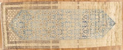 Antique Malayer Carpet, Handmade Oriental Rug, Ivory, Taupe, Gold, Light Blue