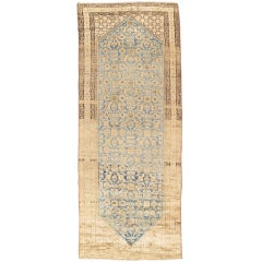 Antique Malayer Carpet, Handmade Oriental Rug, Ivory, Taupe, Gold, Light Blue