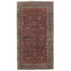 Antique Persian Lavar Kerman Carpet, Handmade Oriental Rug, Red and Blue, Green