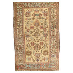 Antique Bakhshaish Carpet, Hand Knotted Wool Oriental Rug, Taupe, Lt Blue, Ivory