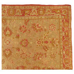 Antique Oushak Carpet, Turkish Rugs, Handmade Oriental Rugs, Pink Ivory Fine Rug