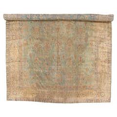 Antique Indian Agra Carpet, Handmade Rug, Green - Blue, Taupe, Beige, Allover
