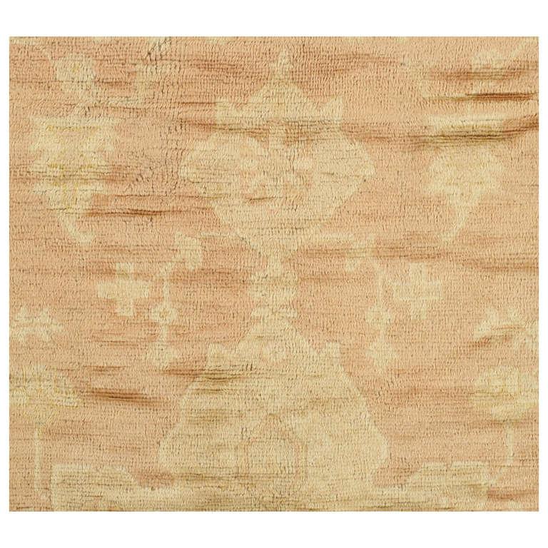 Antique Turkish Angora Oushak Carpet, Handmade Oriental Rug Shrimp, Pink, Ivory