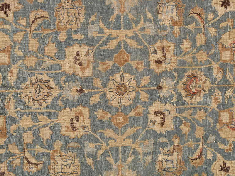 Antique Tabriz Carpet, Handmade Persian Rug in Floral Light Blue, Beige,Taupe 2