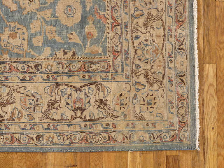 Antique Tabriz Carpet, Handmade Persian Rug in Floral Light Blue, Beige,Taupe 3