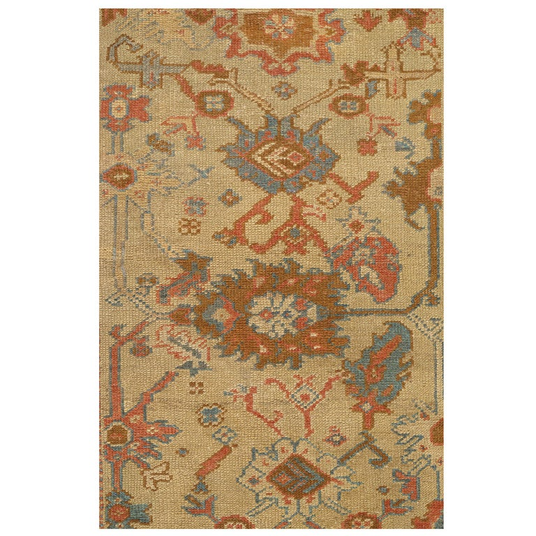 Antique Turkish Oushak Carpet, Handmade Oriental Rug, Beige, Taupe, Terracotta For Sale