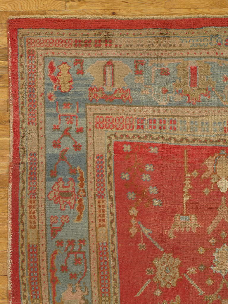 Antique Oushak Carpet Oriental Rug Handmade Coral Ivory