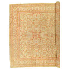 Antique Turkish Oushak Carpet, Handmade Oriental Rug, Beige, Taupe, Sage, Coral