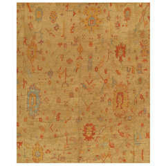 Antique Turkish Oushak Carpet, Handmade Oriental Rug, Gold, Light Blue, Beige