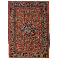 Antique Heriz Northwest Persian Rug, Handmade Rug, Gold, Navy, Light Blue, Rust