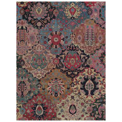 Antique Tabriz Carpet, Handmade Persian Rug in Floral Gold, Pink Brown and Taupe