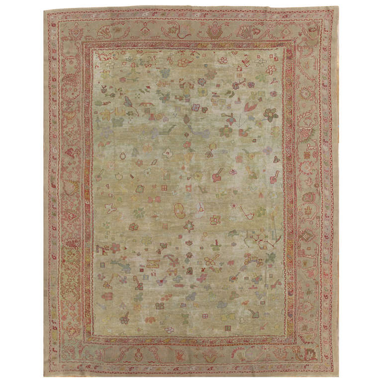 Awesome Antique Oushak Carpet, Handmade Oriental Rug, Green, Pink, Taupe, Cream Fine