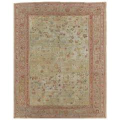 Antique Oushak Carpet, Handmade Oriental Rug, Green, Pink, Taupe, Cream Fine