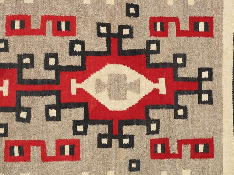 Vintage Navajo Rug, Oriental Rug, Handmade Wool Rug, Red, Taupe, Gray