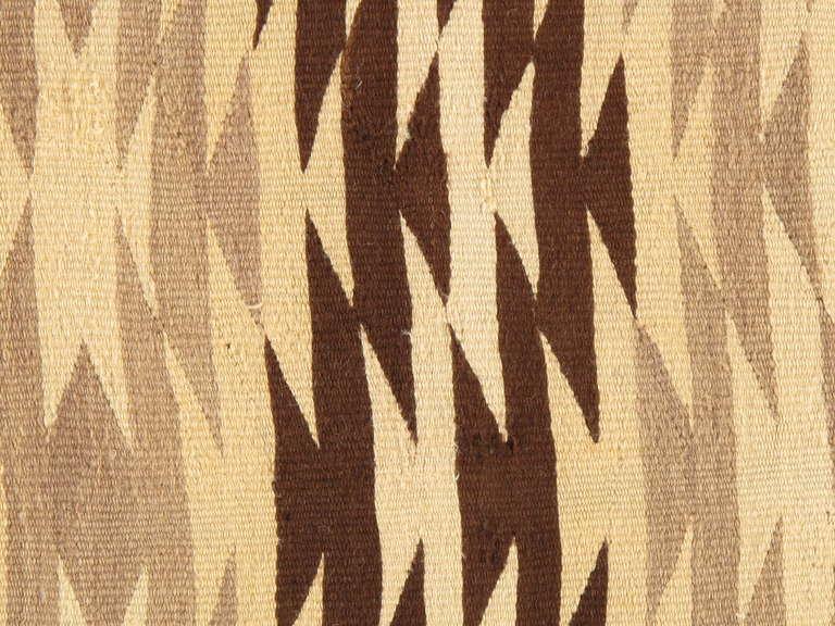 Vintage Navajo Carpet Handmade Rug Brown Blue Beige