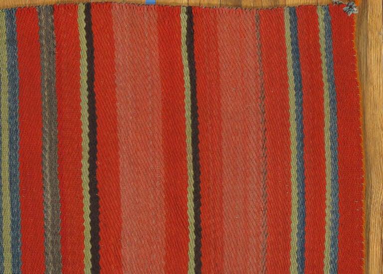 Vintage Navajo Blanket Handmade Rug Green Blue Beige