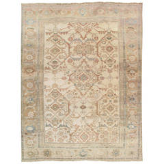 Antique Persian Sultanabad Carpet, Handmade Oriental, Light Blue, Taupe, Ivory