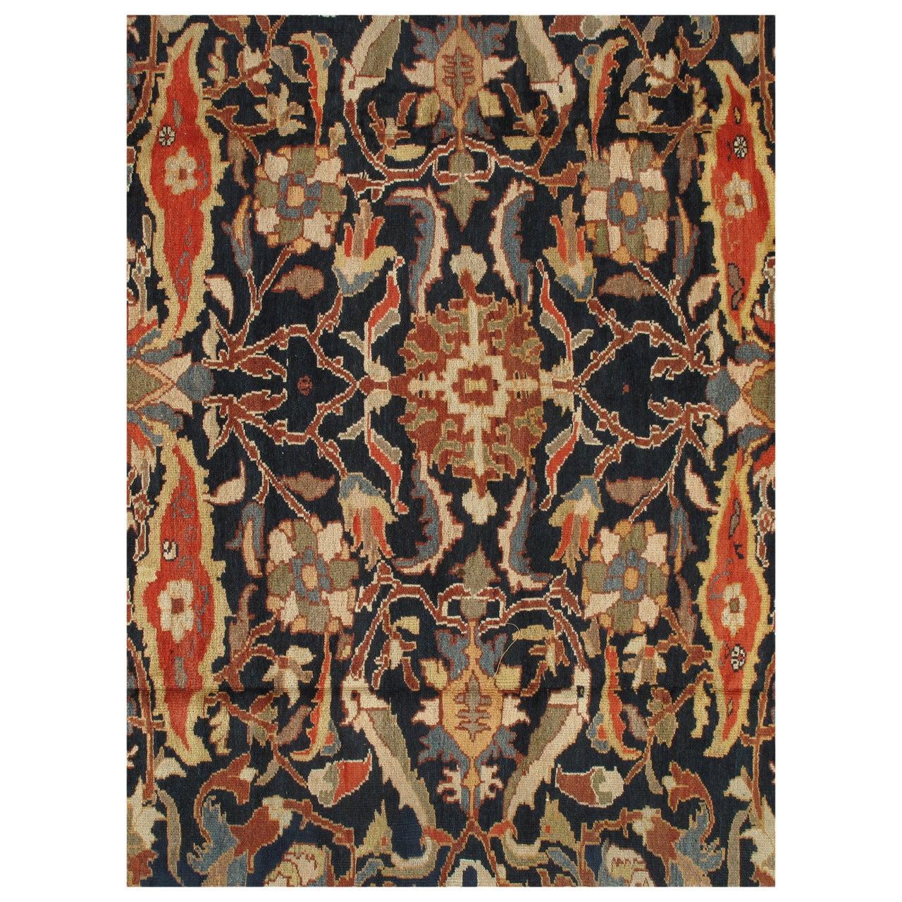 Antique Persian Sultanabad Carpet, Handmade Oriental Rug, Navy Blue, Rust, Gold