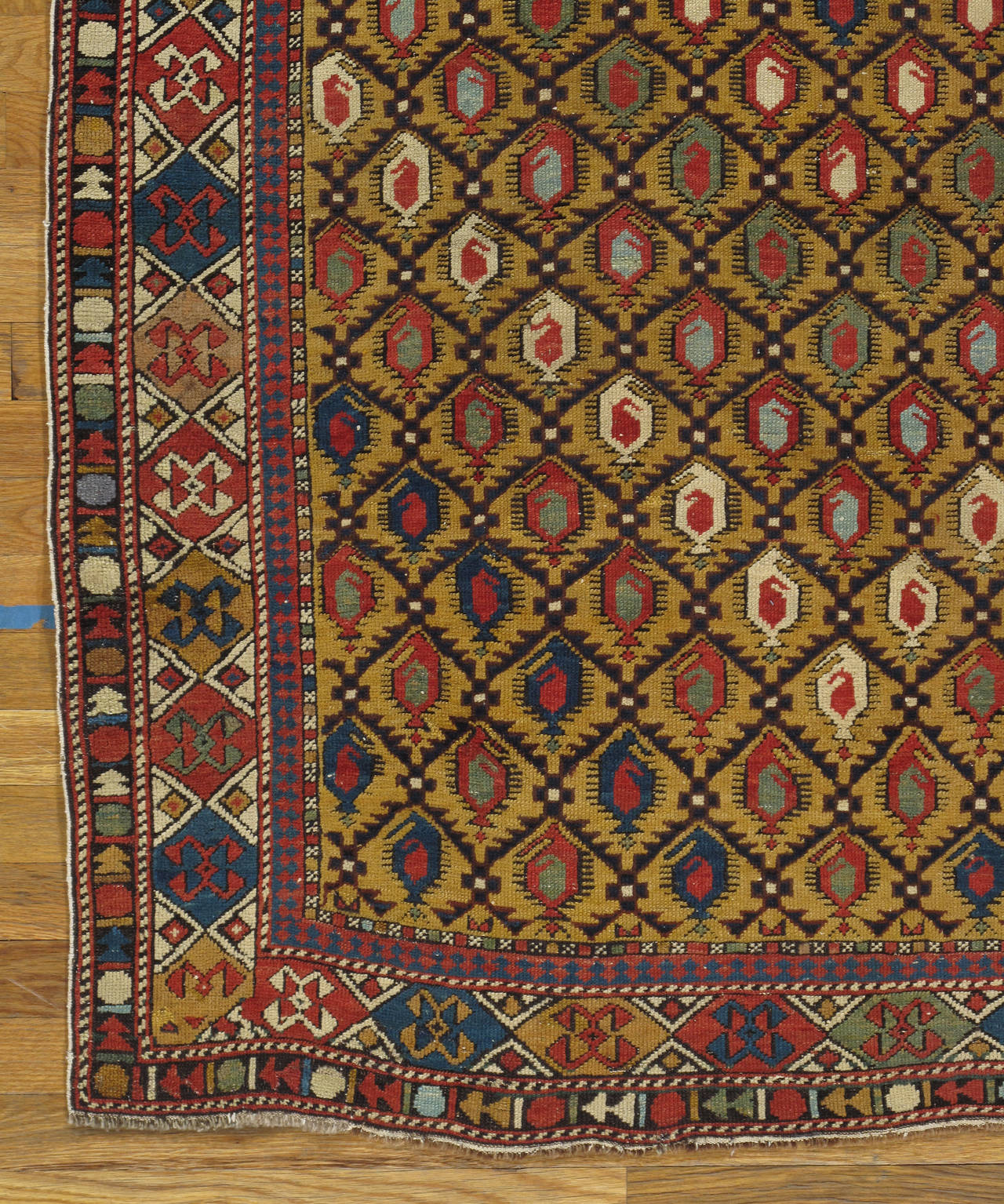 Prayer Rug Types: Gold Ground Antique Marasali Shirvan Prayer Rug, Hand