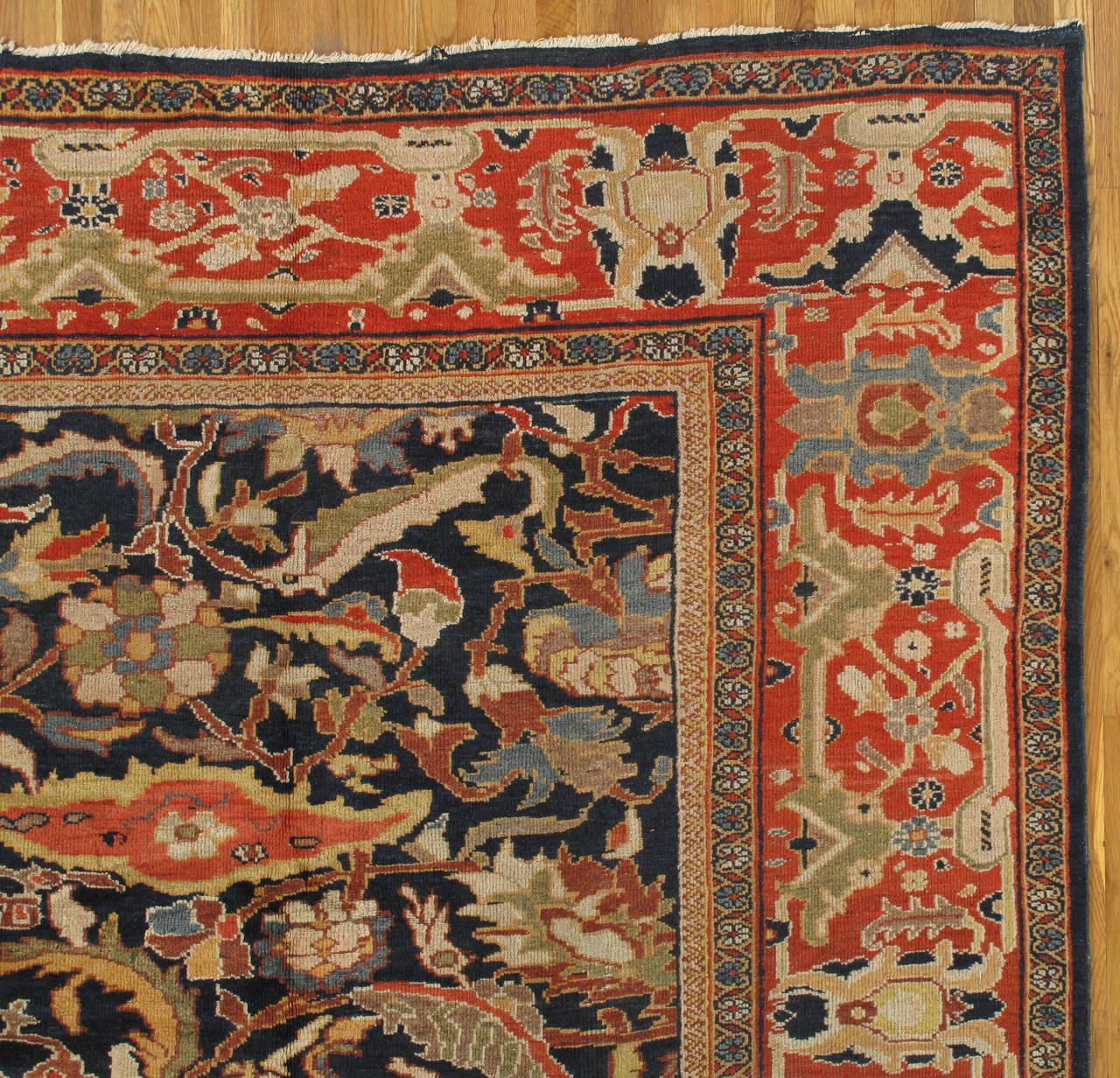 Antique Persian Sultanabad Carpet Handmade Oriental Rug Navy Blue Rust Gold