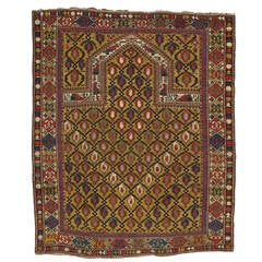 Gold Ground Antique Marasali Shirvan Prayer Rug, Hand-Knotted, Wool Oriental Rug