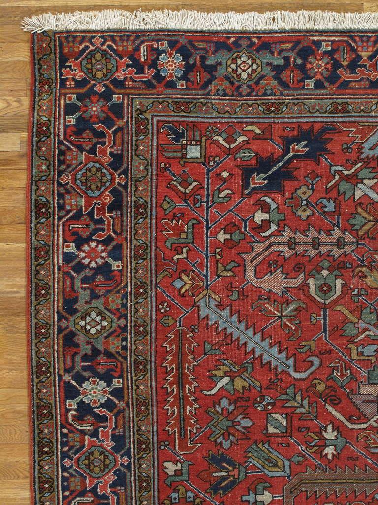 Heriz Serapi Antique Persian Heriz Carpet, Handmade Wool Oriental Rug, Rust, Ivory, Lt Blue For Sale