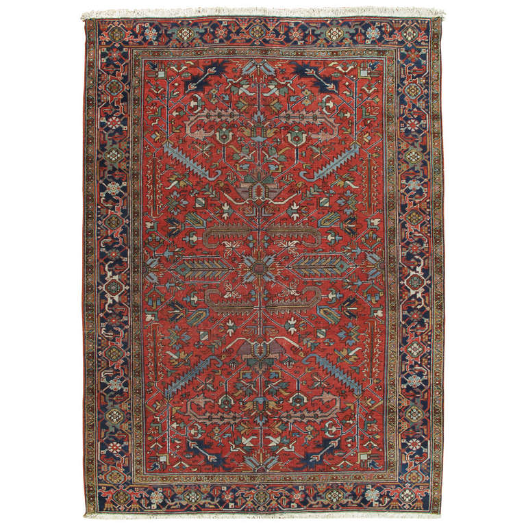 Antique Persian Heriz Carpet, Handmade Wool Oriental Rug, Rust, Ivory, Lt Blue For Sale