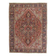 Antique Heriz Northwest Persian Rug Handmade Rug, Navy, Light Blue, Rust, Ivory