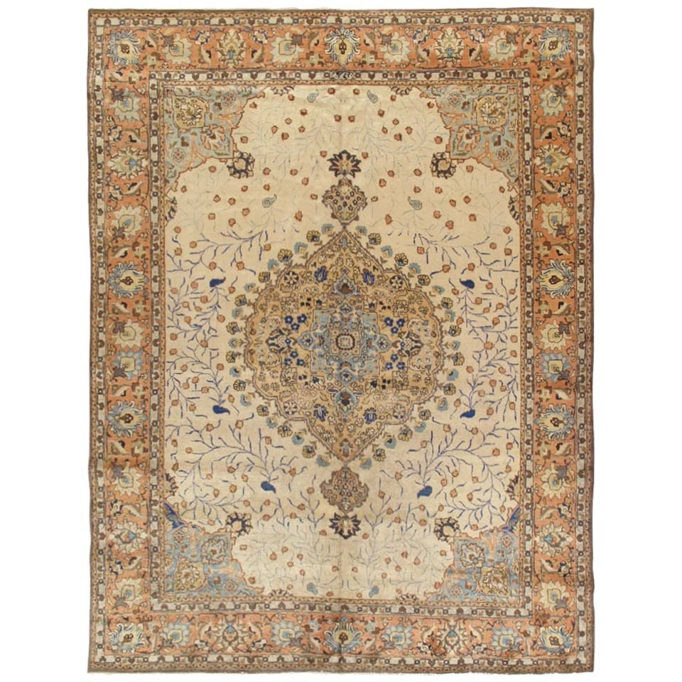 Antique Tabriz Carpet, Handmade Persian Rug in Floral Gold, Beige Brown, Taupe