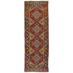 Antique Turkish Oushak Runner, Handmade Oriental Rug Coral. Brown, Yellow, Beige