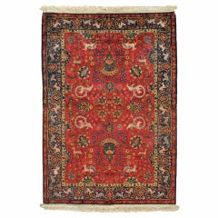 Antique Silk Turkish Rug, Handmade Oriental Rug, Red and Blue, Fine Silk Rugs
