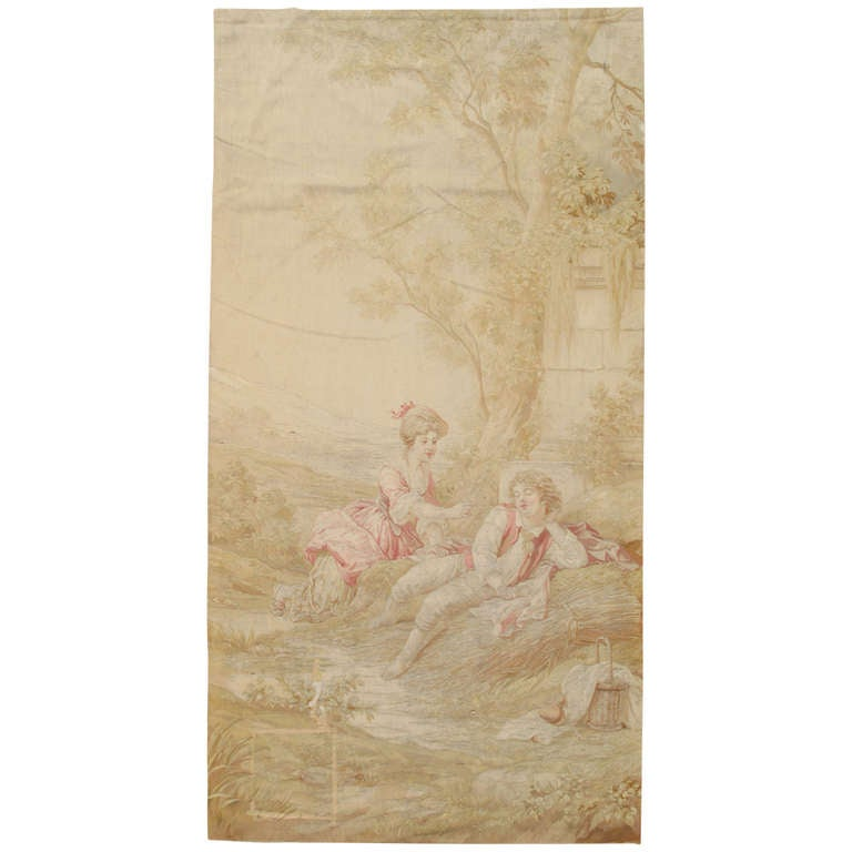 Antique 19th Century French Aubusson Tapestry, Handmade, Wall Hanging, Silk Fine