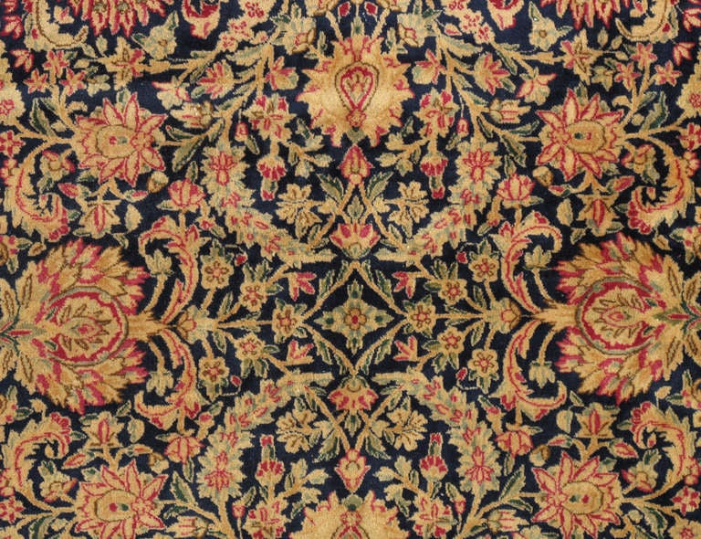 Hand-Knotted Antique Kerman Carpet, Persian Handmade Oriental Rug, Red and Blue, Allover For Sale