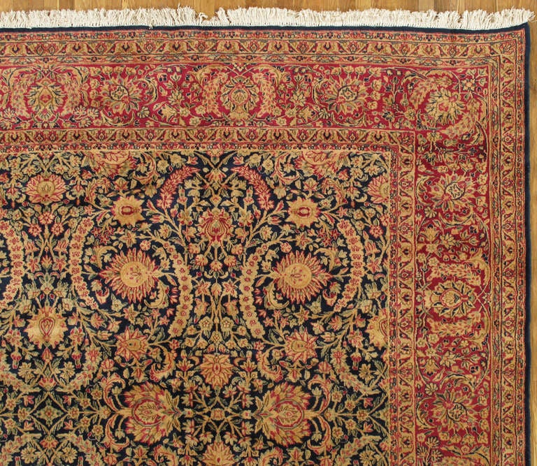 Antique Kerman Carpet, Persian Handmade Oriental Rug, Red and Blue, Allover In Excellent Condition For Sale In New York, NY