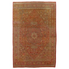 Antique Tabriz Carpet, Handmade Persian Rug in Floral Gold, Red and Beige
