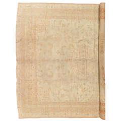 Antique Oushak Carpet, Turkish Rugs, Handmade Oriental Rugs, Pink Ivory Fine Rug