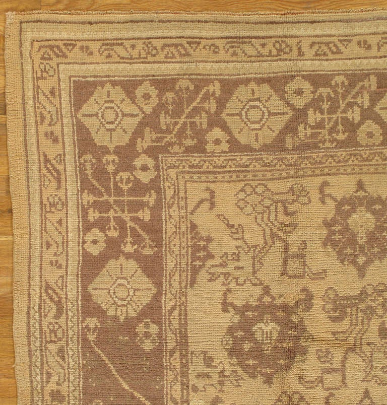 Antique Oushak Carpet, Handmade Oriental Rug, Made In