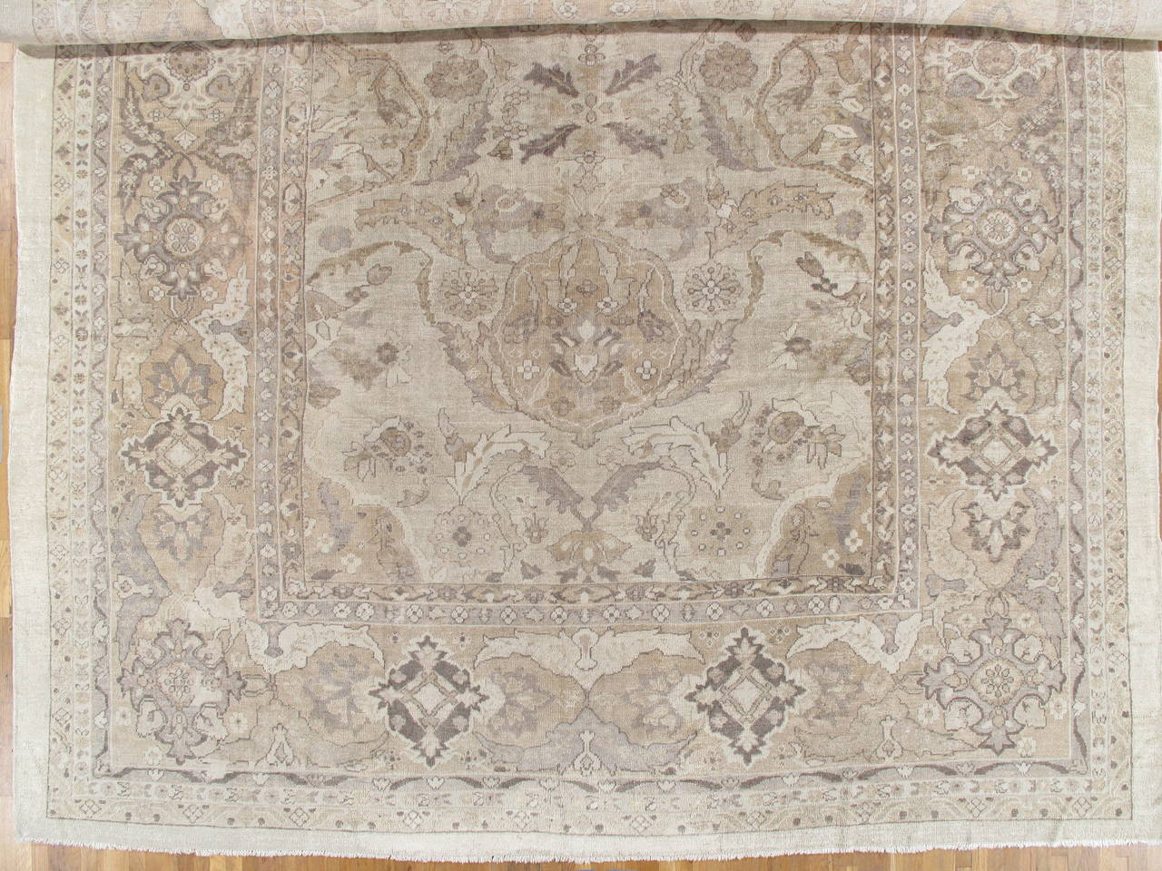 Hand knotted antique sultanabad carpet handmade oriental rug neutral tn wool persian carpet