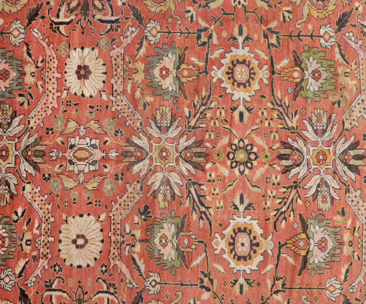 Antique Persian Sultanabad Carpet Handmade Oriental Rug