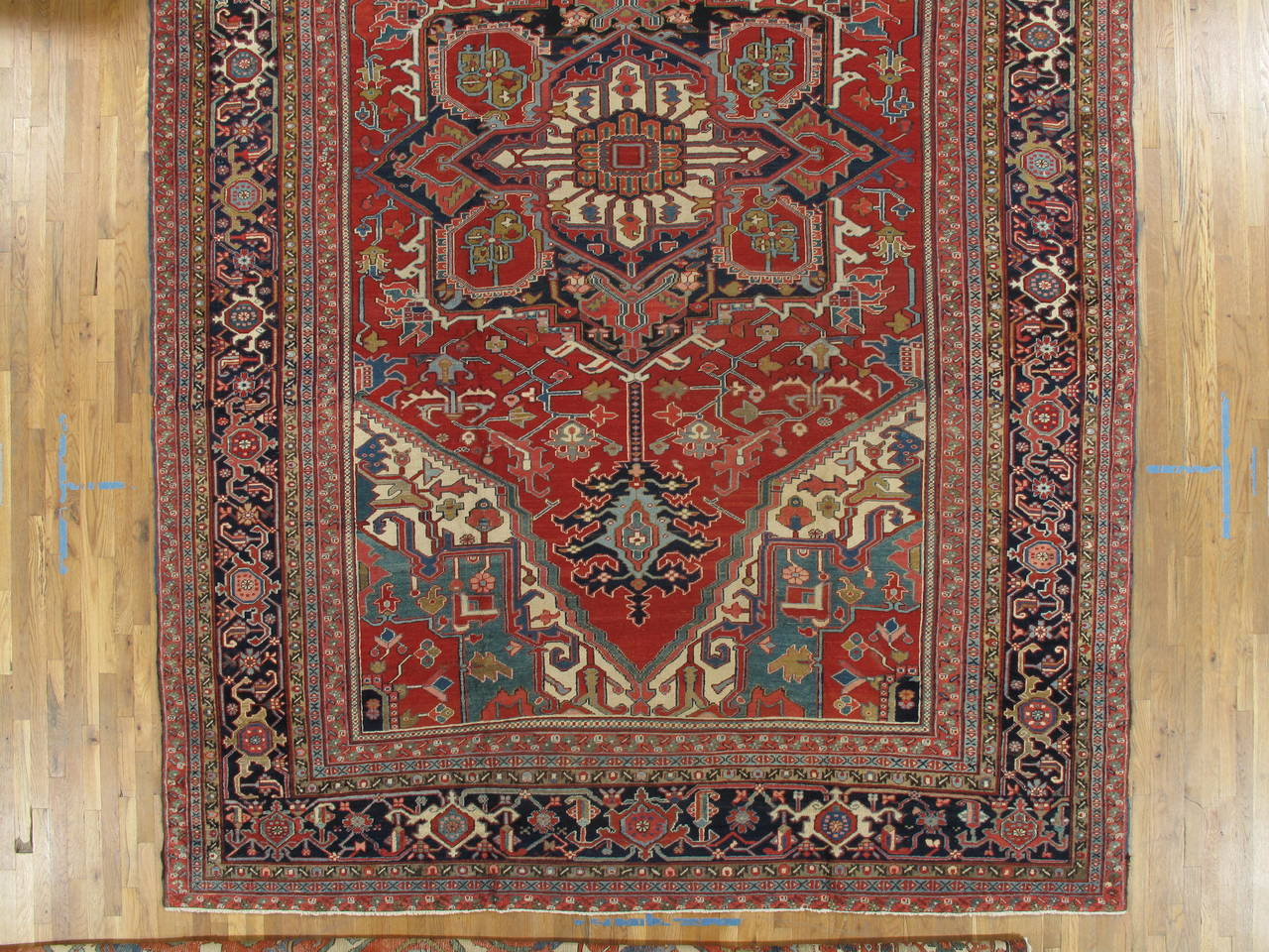 Antique persian heriz carpet handmade wool oriental rug for Blue and white oriental rug