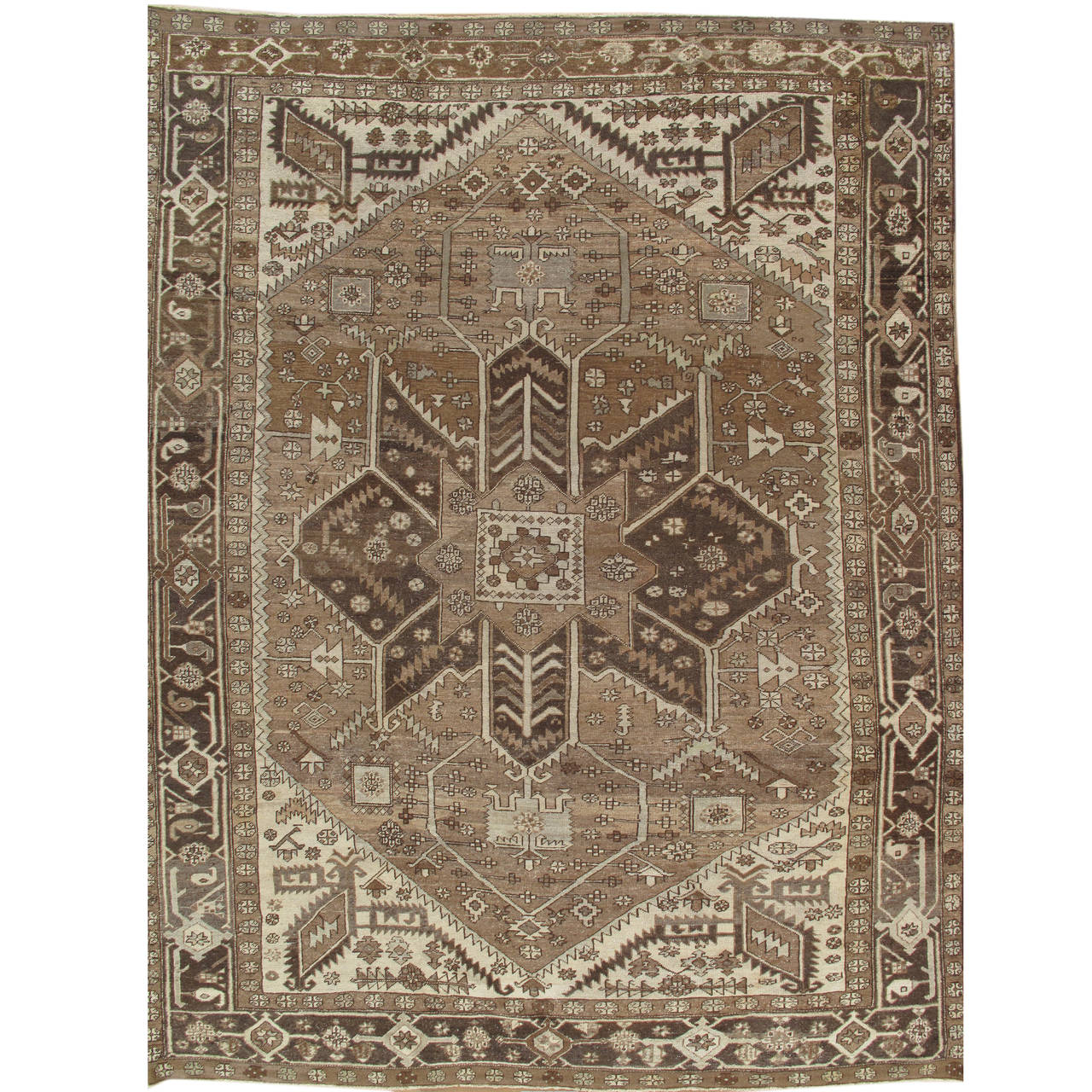 Antique Serapi Carpet Hand Knotted Wool Oriental Rug Taupe And Brown For