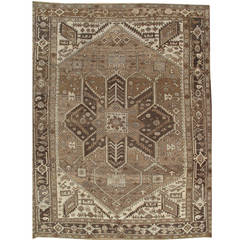 Antique Serapi Carpet, Hand Knotted Wool Oriental Rug, Taupe and Brown Rug